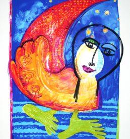 Lithographie - Marion Filzek - Mondvogel