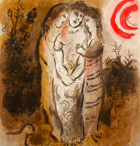 Originallithographie - Chagall - Naomi et ses belles Filles