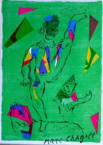 Lithographie - Chagall - Akrobat vor grünem Grund
