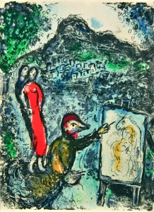 Lithographie - Chagall - Devant St. Jeannet