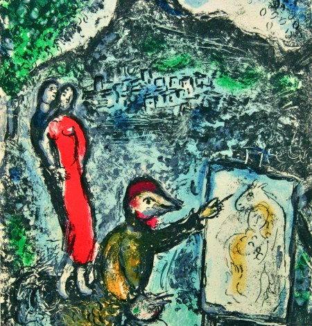 Lithographie - Chagall - Devant St. Jeannet