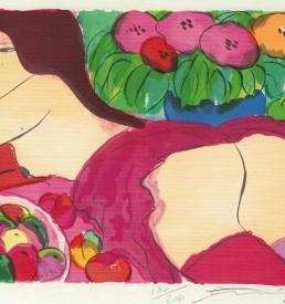 Ting - Nackte Dame liegend in Blumen
